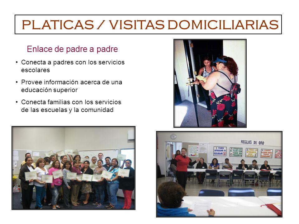 Enlace de padre a padre Conecta a padres con los servicios escolares Provee información acerca de una educación superior Conecta familias con los servicios de las escuelas y la comunidad PLATICAS / VISITAS DOMICILIARIAS