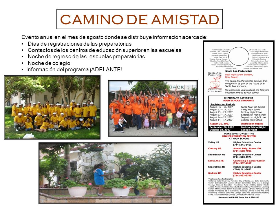 Evento anual en el mes de agosto donde se distribuye información acerca de: Días de registraciones de las preparatorias Contactos de los centros de ed