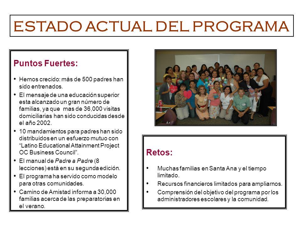 Puntos Fuertes: Hemos crecido: más de 500 padres han sido entrenados. El mensaje de una educación superior esta alcanzado un gran número de familias,