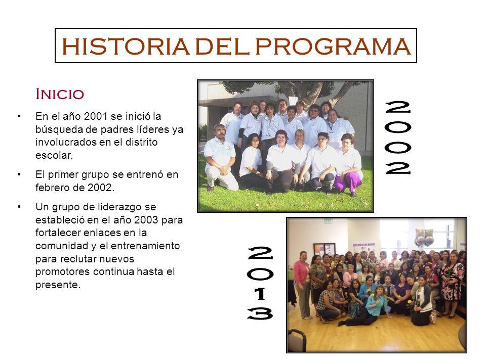 Inicio En el año 2001 se inició la búsqueda de padres líderes ya involucrados en el distrito escolar. El primer grupo se entrenó en febrero de 2002. U