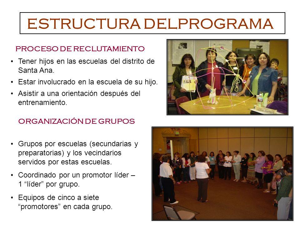 Grupos por escuelas (secundarias y preparatorias) y los vecindarios servidos por estas escuelas.