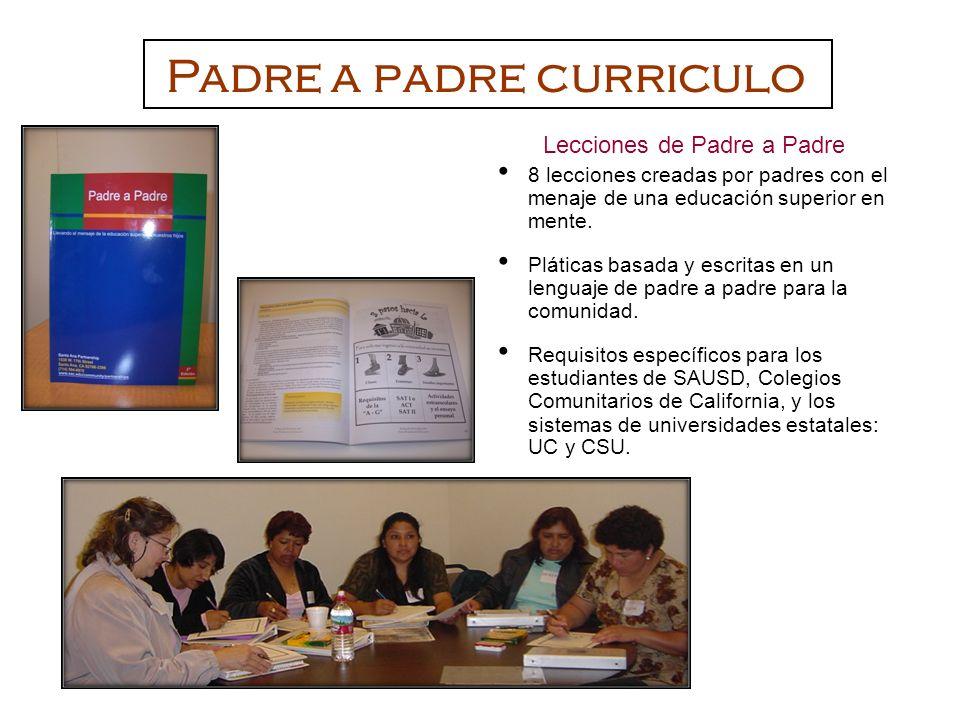 Lecciones de Padre a Padre 8 lecciones creadas por padres con el menaje de una educación superior en mente. Pláticas basada y escritas en un lenguaje