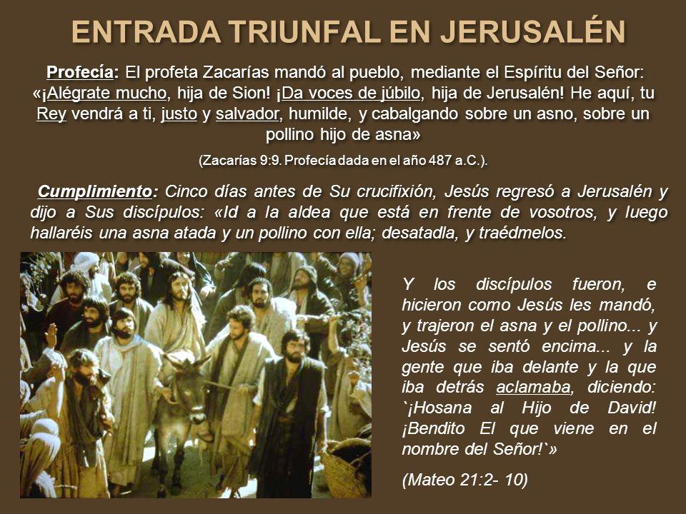 ENTRADA TRIUNFAL EN JERUSALÉN ENTRADA TRIUNFAL EN JERUSALÉN Profecía: El profeta Zacarías mandó al pueblo, mediante el Espíritu del Señor: «¡Alégrate