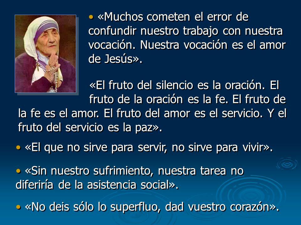 «Muchos cometen el error de confundir nuestro trabajo con nuestra vocación. Nuestra vocación es el amor de Jesús». «El fruto del silencio es la oració