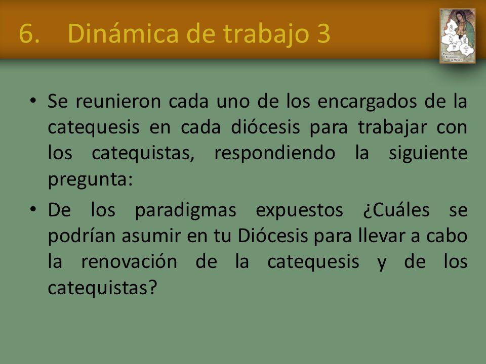 6.Dinámica de trabajo 3 Se reunieron cada uno de los encargados de la catequesis en cada diócesis para trabajar con los catequistas, respondiendo la s