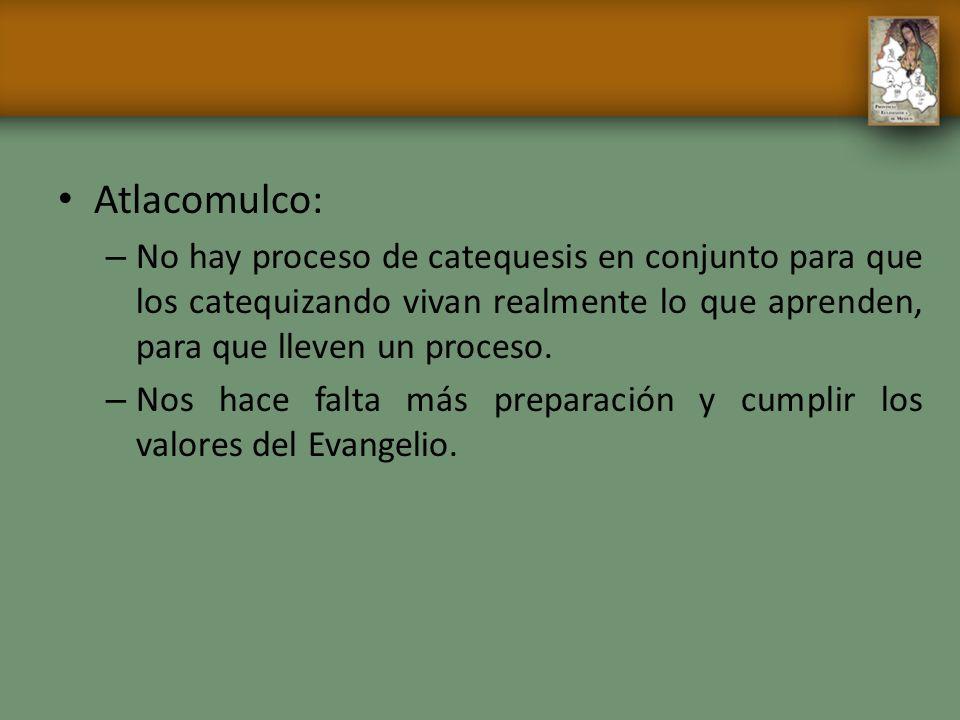 Atlacomulco: – No hay proceso de catequesis en conjunto para que los catequizando vivan realmente lo que aprenden, para que lleven un proceso. – Nos h