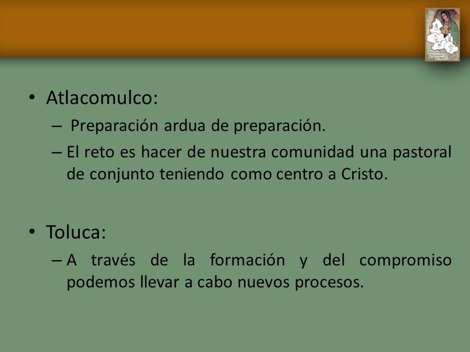 Atlacomulco: – Preparación ardua de preparación. – El reto es hacer de nuestra comunidad una pastoral de conjunto teniendo como centro a Cristo. Toluc