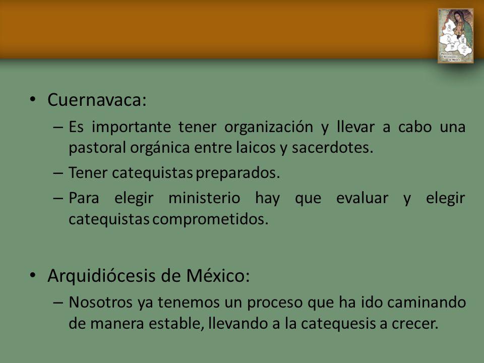Cuernavaca: – Es importante tener organización y llevar a cabo una pastoral orgánica entre laicos y sacerdotes. – Tener catequistas preparados. – Para