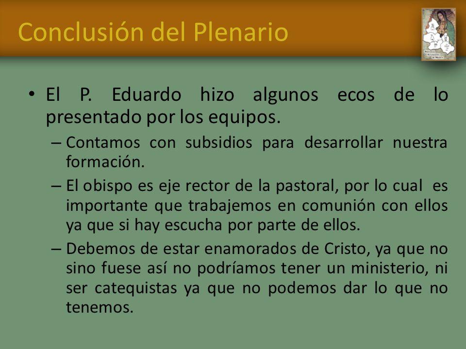 Conclusión del Plenario El P. Eduardo hizo algunos ecos de lo presentado por los equipos. – Contamos con subsidios para desarrollar nuestra formación.