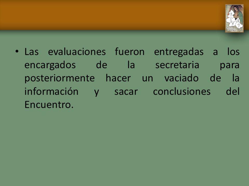 Las evaluaciones fueron entregadas a los encargados de la secretaria para posteriormente hacer un vaciado de la información y sacar conclusiones del E
