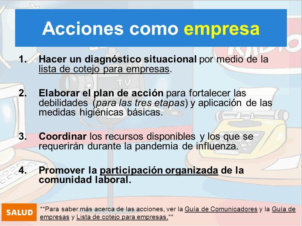 El plan debe contener: ¿Cuáles son las diferentes acciones a realizar durante las diferentes etapas.