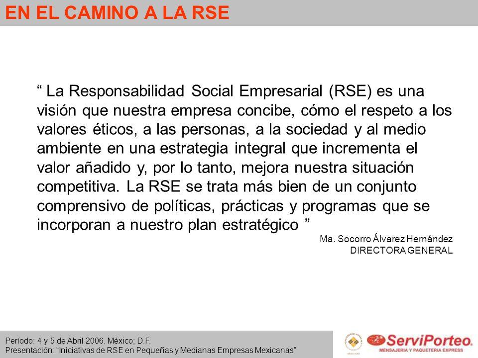 Período: 4 y 5 de Abril 2006. México; D.F. Presentación: Iniciativas de RSE en Pequeñas y Medianas Empresas Mexicanas EN EL CAMINO A LA RSE La Respons