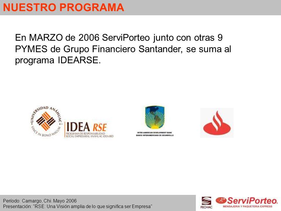 NUESTRO PROGRAMA En MARZO de 2006 ServiPorteo junto con otras 9 PYMES de Grupo Financiero Santander, se suma al programa IDEARSE. Período: Camargo, Ch