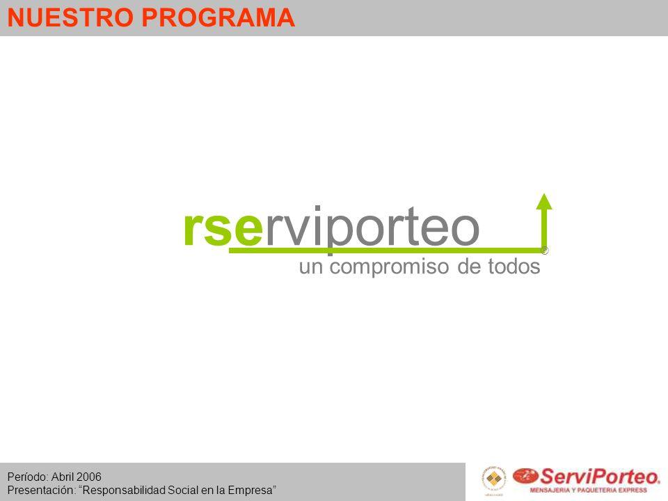 Período: Abril 2006 Presentación: Responsabilidad Social en la Empresa NUESTRO PROGRAMA rserviporteo ® un compromiso de todos