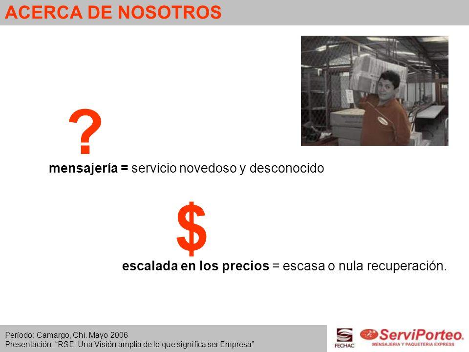 ACERCA DE NOSOTROS escalada en los precios = escasa o nula recuperación. mensajería = servicio novedoso y desconocido ? $ Período: Camargo, Chi. Mayo