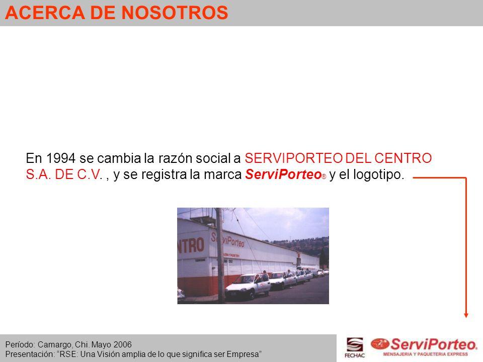 ACERCA DE NOSOTROS En 1994 se cambia la razón social a SERVIPORTEO DEL CENTRO S.A. DE C.V., y se registra la marca ServiPorteo ® y el logotipo. Períod