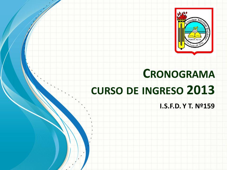 C RONOGRAMA CURSO DE INGRESO 2013 I.S.F.D. Y T. Nº159
