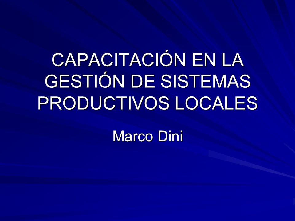 CAPACITACIÓN EN LA GESTIÓN DE SISTEMAS PRODUCTIVOS LOCALES Marco Dini