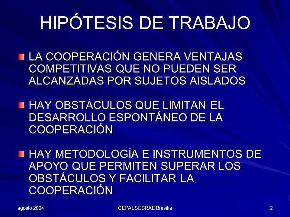 agosto 2004 CEPAL SEBRAE Brasilia 2 HIPÓTESIS DE TRABAJO LA COOPERACIÓN GENERA VENTAJAS COMPETITIVAS QUE NO PUEDEN SER ALCANZADAS POR SUJETOS AISLADOS