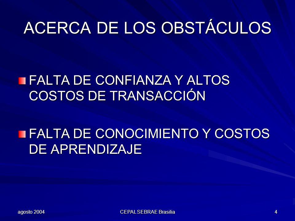agosto 2004 CEPAL SEBRAE Brasilia 5 ACERCA DE LAS METODOLOGÍAS Y HERRAMIENTAS BENEFICIOS MONETARIOS –PRINCIPALES RIESGOS: ESTIMULAR CONDUCTAS OPORTUNISTAS Y SOLUCIONES EFÍMERAS ACRECENTAR LA DIVISIÓN ENTRE EMPRESAS Y TERRITORIOS APOYO ESPECIALIZADO (FACILITADORES) –PRINCIPAL RIESGO: PATERNALISMO