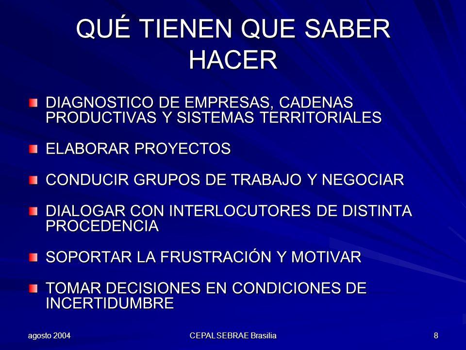 agosto 2004 CEPAL SEBRAE Brasilia 9 QUÉ TIENEN QUE CONOCER LA DINÁMICA DE LOS SECTORES Y ESPECIALMENTE SUS MERCADOS LAS EMPRESAS E INSTITUCIONES DE LA LOCALIDAD LOS PROGRAMAS DE APOYO LOS CONCEPTOS DE RED EMPRESARIAL, CADENA PRODUCTIVA Y CLUSTER/SPL