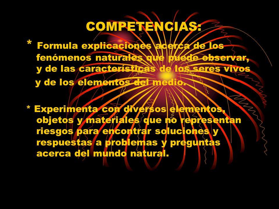 COMPETENCIAS: * Formula explicaciones acerca de los fenómenos naturales que puede observar, y de las características de los seres vivos y de los eleme