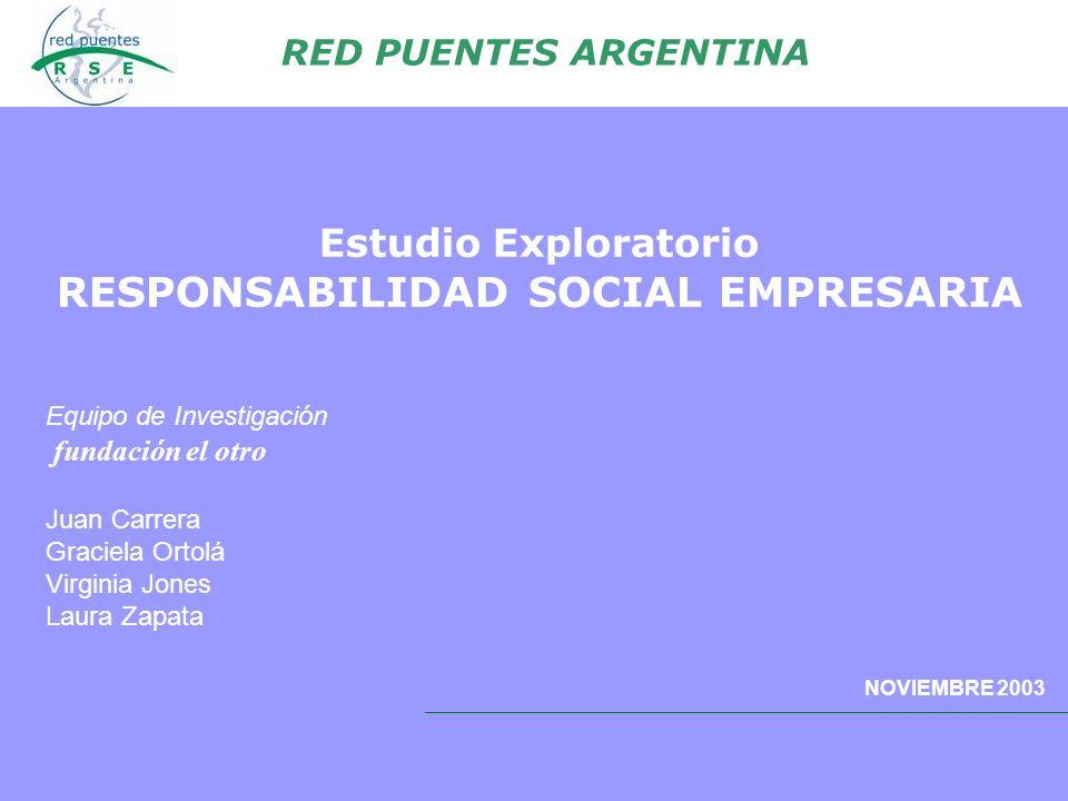 Estudio Exploratorio RESPONSABILIDAD SOCIAL EMPRESARIA RED PUENTES ARGENTINA NOVIEMBRE 2003 Equipo de Investigación fundación el otro Juan Carrera Gra