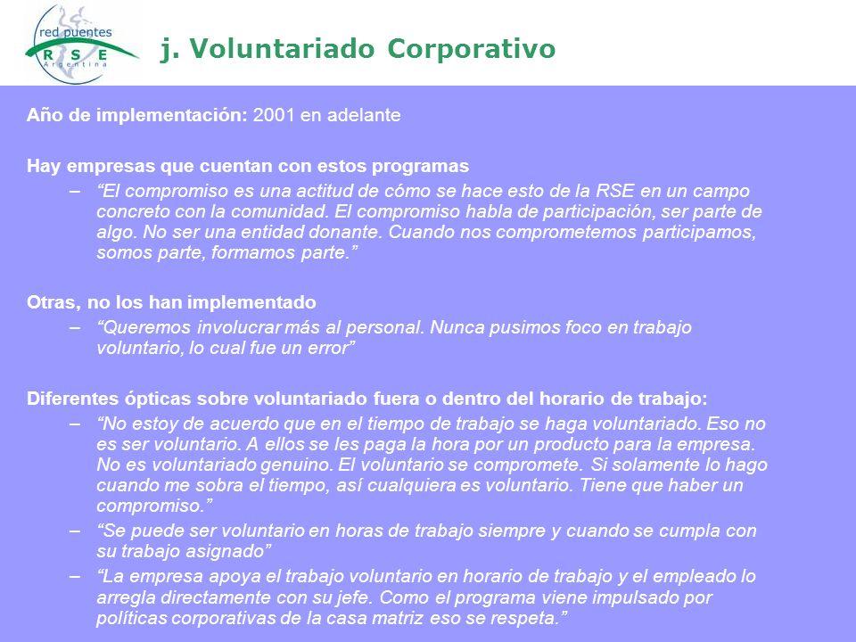 j. Voluntariado Corporativo Año de implementación: 2001 en adelante Hay empresas que cuentan con estos programas –El compromiso es una actitud de cómo