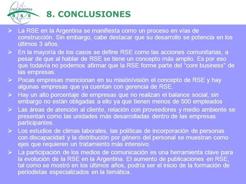 8. CONCLUSIONES La RSE en la Argentina se manifiesta como un proceso en vías de construcción. Sin embargo, cabe destacar que su desarrollo se potencia