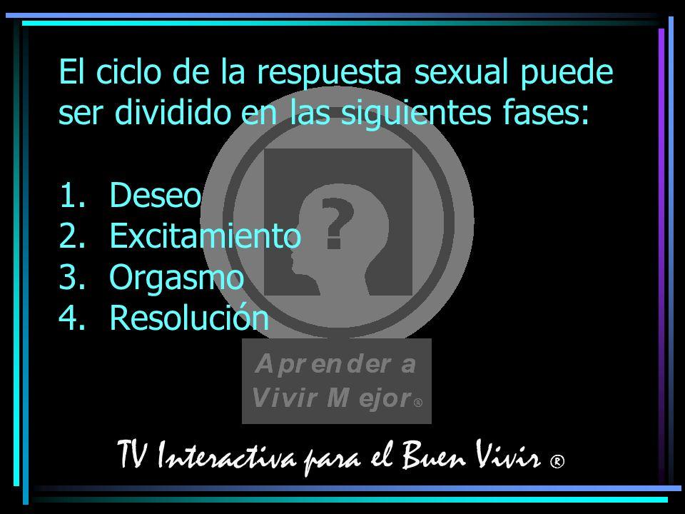 TV Interactiva para el Buen Vivir ® El ciclo de la respuesta sexual puede ser dividido en las siguientes fases: 1. Deseo 2. Excitamiento 3. Orgasmo 4.
