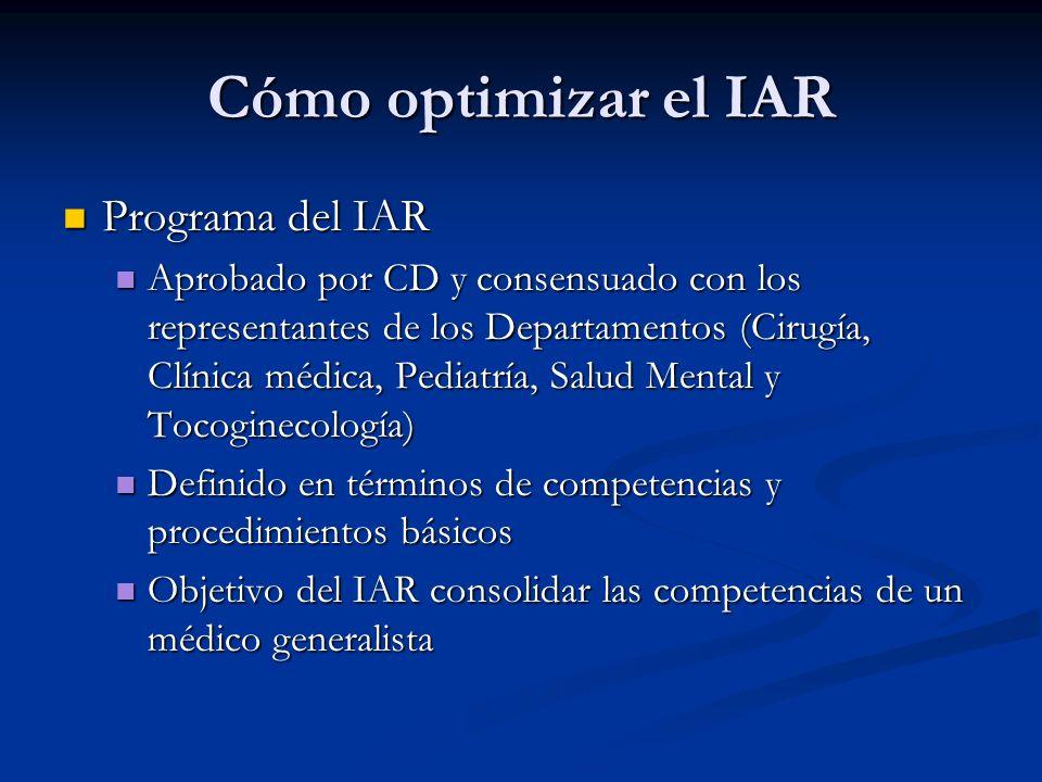 Cómo optimizar el IAR Programa del IAR Programa del IAR Aprobado por CD y consensuado con los representantes de los Departamentos (Cirugía, Clínica médica, Pediatría, Salud Mental y Tocoginecología) Aprobado por CD y consensuado con los representantes de los Departamentos (Cirugía, Clínica médica, Pediatría, Salud Mental y Tocoginecología) Definido en términos de competencias y procedimientos básicos Definido en términos de competencias y procedimientos básicos Objetivo del IAR consolidar las competencias de un médico generalista Objetivo del IAR consolidar las competencias de un médico generalista