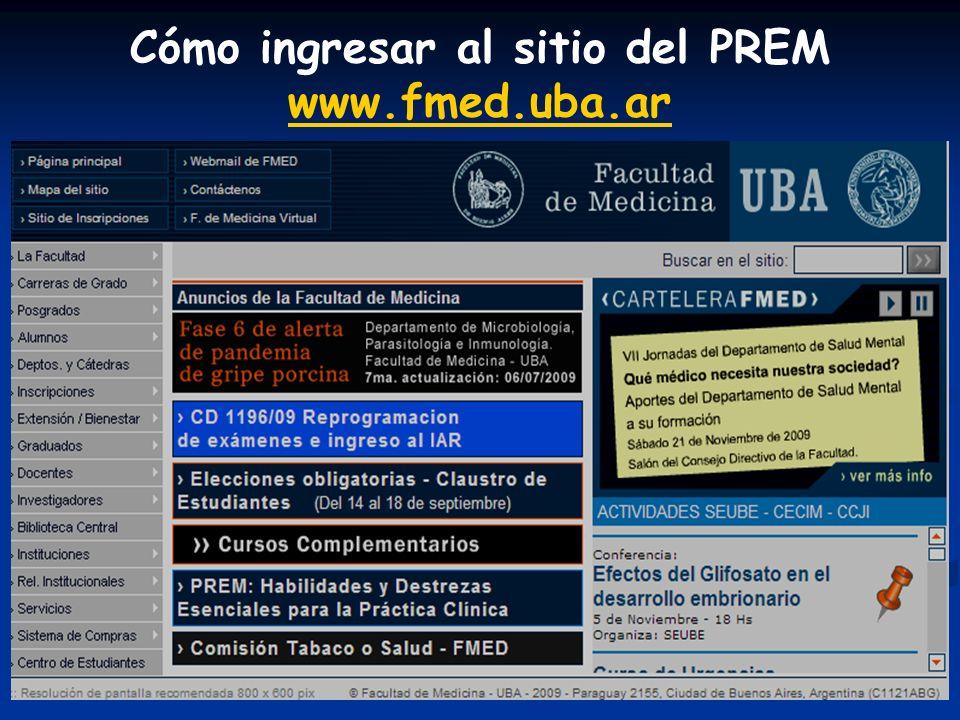 Cómo ingresar al sitio del PREM www.fmed.uba.ar