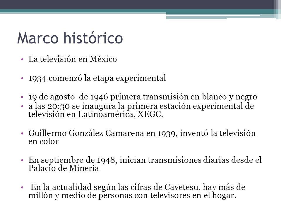 Marco histórico La televisión en México 1934 comenzó la etapa experimental 19 de agosto de 1946 primera transmisión en blanco y negro a las 20:30 se i