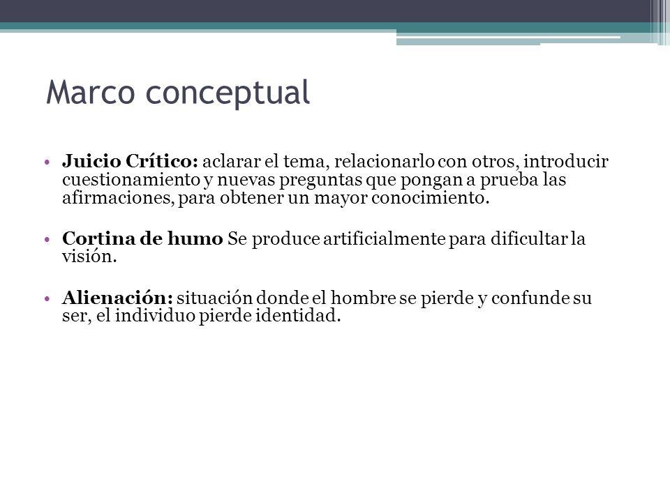 Marco conceptual Juicio Crítico: aclarar el tema, relacionarlo con otros, introducir cuestionamiento y nuevas preguntas que pongan a prueba las afirma
