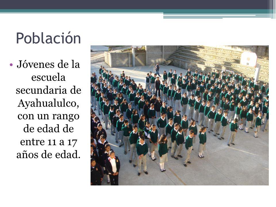 Población Jóvenes de la escuela secundaria de Ayahualulco, con un rango de edad de entre 11 a 17 años de edad.