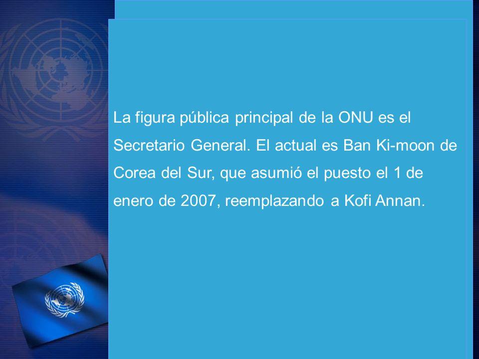 La figura pública principal de la ONU es el Secretario General. El actual es Ban Ki-moon de Corea del Sur, que asumió el puesto el 1 de enero de 2007,