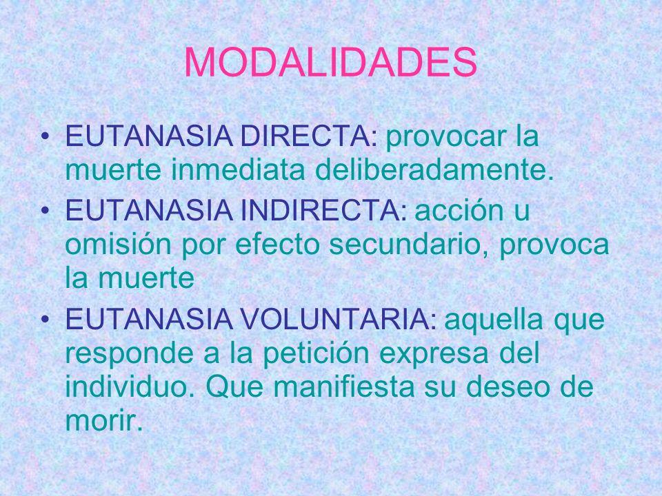 MODALIDADES EUTANASIA DIRECTA: provocar la muerte inmediata deliberadamente. EUTANASIA INDIRECTA: acción u omisión por efecto secundario, provoca la m