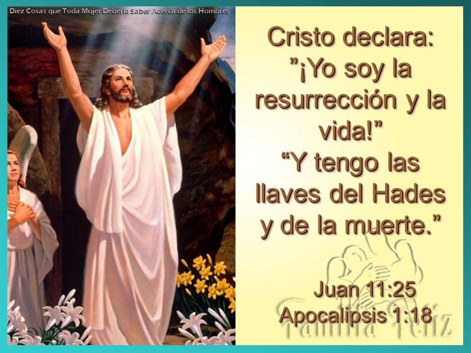 Cristo declara:¡Yo soy la resurrección y la vida! Y tengo las llaves del Hades y de la muerte. Juan 11:25 Apocalipsis 1:18 Cristo declara:¡Yo soy la r