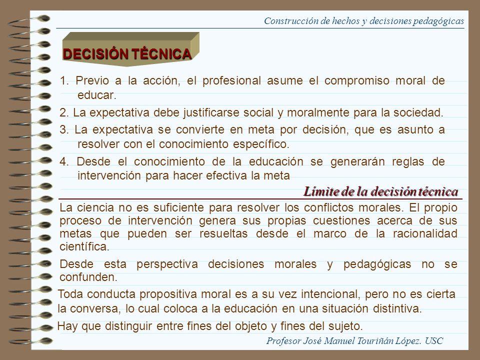 1. Previo a la acción, el profesional asume el compromiso moral de educar. 2. La expectativa debe justificarse social y moralmente para la sociedad. 3