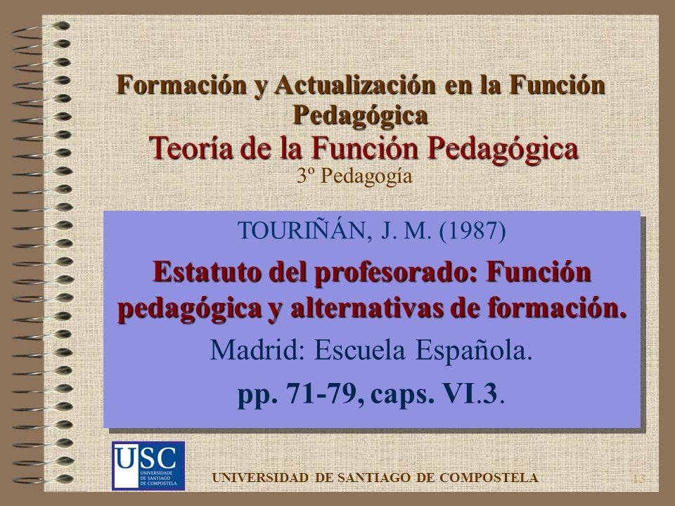 13 Teoría de la Función Pedagógica TOURIÑÁN, J. M. (1987) Estatuto del profesorado: Función pedagógica y alternativas de formación. Madrid: Escuela Es