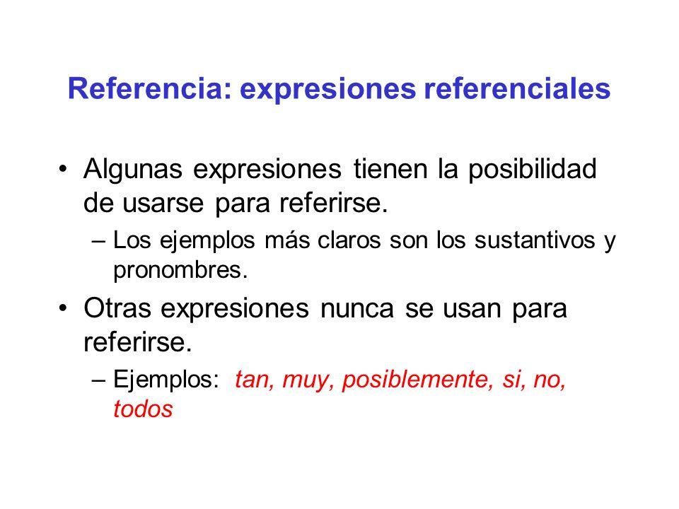 Referencia: expresiones referenciales Algunas expresiones tienen la posibilidad de usarse para referirse. –Los ejemplos más claros son los sustantivos