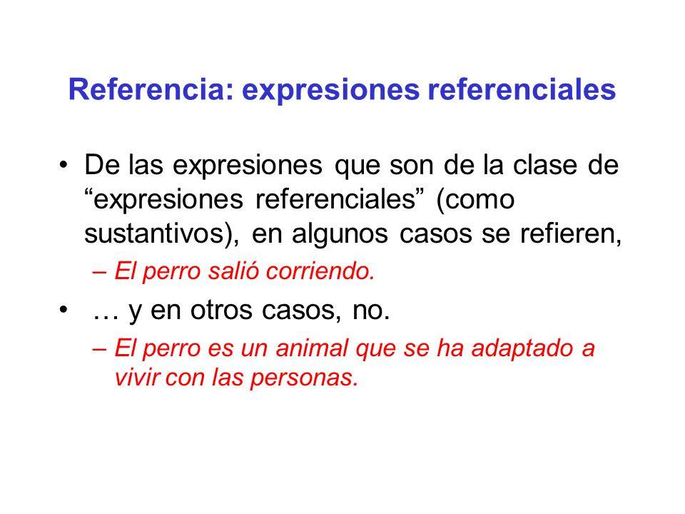 Referencia: expresiones referenciales De las expresiones que son de la clase de expresiones referenciales (como sustantivos), en algunos casos se refi