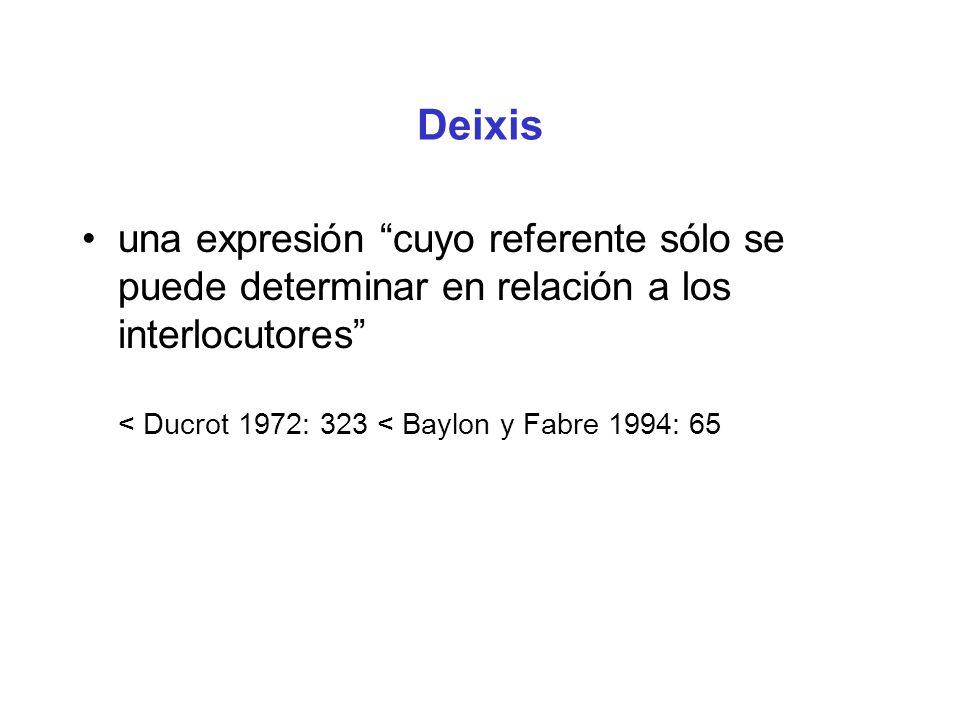 Deixis una expresión cuyo referente sólo se puede determinar en relación a los interlocutores < Ducrot 1972: 323 < Baylon y Fabre 1994: 65