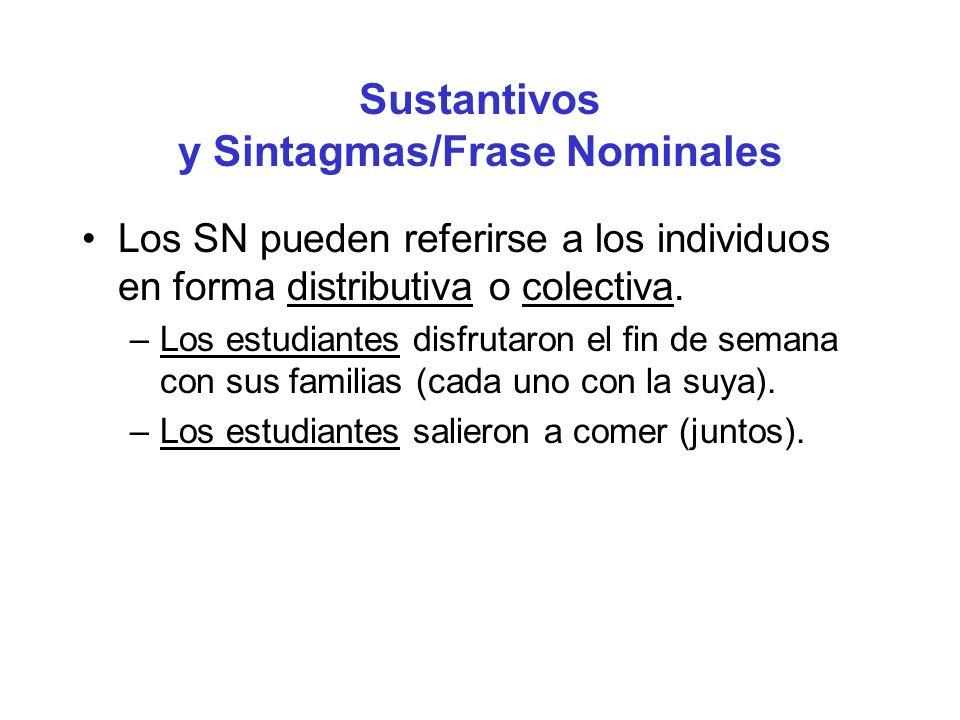 Sustantivos y Sintagmas/Frase Nominales Los SN pueden referirse a los individuos en forma distributiva o colectiva. –Los estudiantes disfrutaron el fi