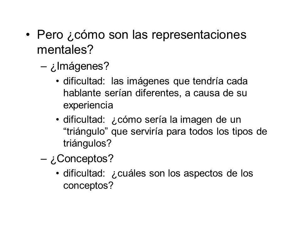 Pero ¿cómo son las representaciones mentales? –¿Imágenes? dificultad: las imágenes que tendría cada hablante serían diferentes, a causa de su experien