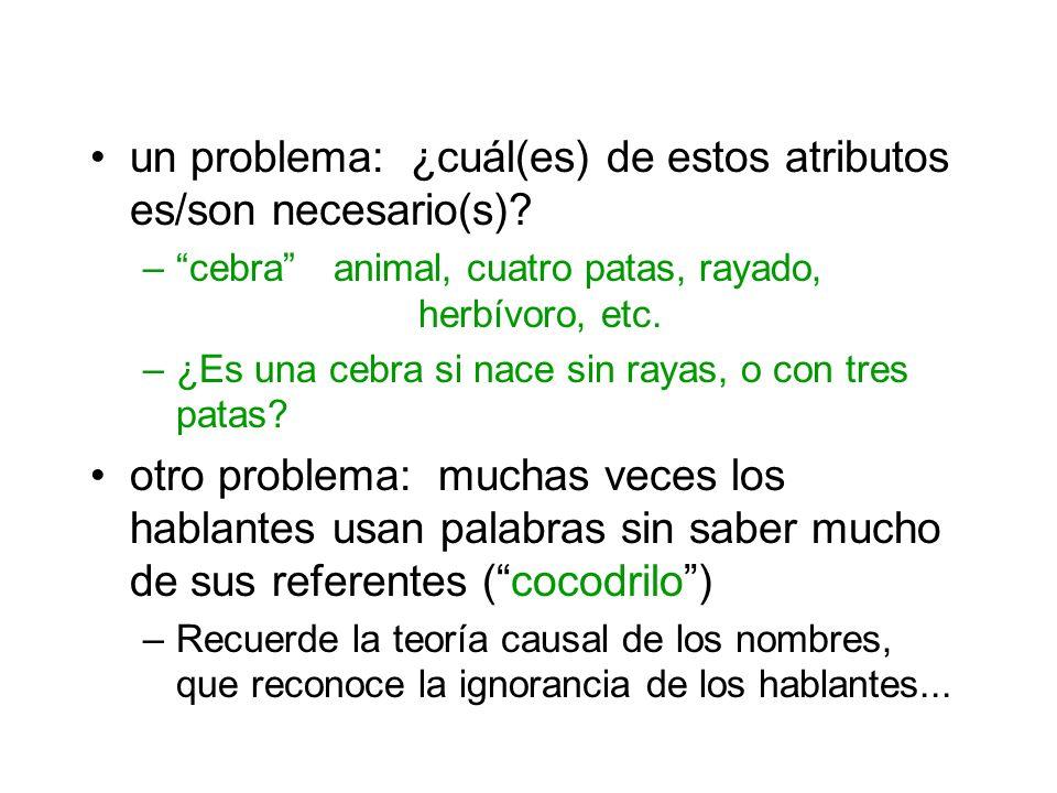 un problema: ¿cuál(es) de estos atributos es/son necesario(s)? –cebra animal, cuatro patas, rayado, herbívoro, etc. –¿Es una cebra si nace sin rayas,