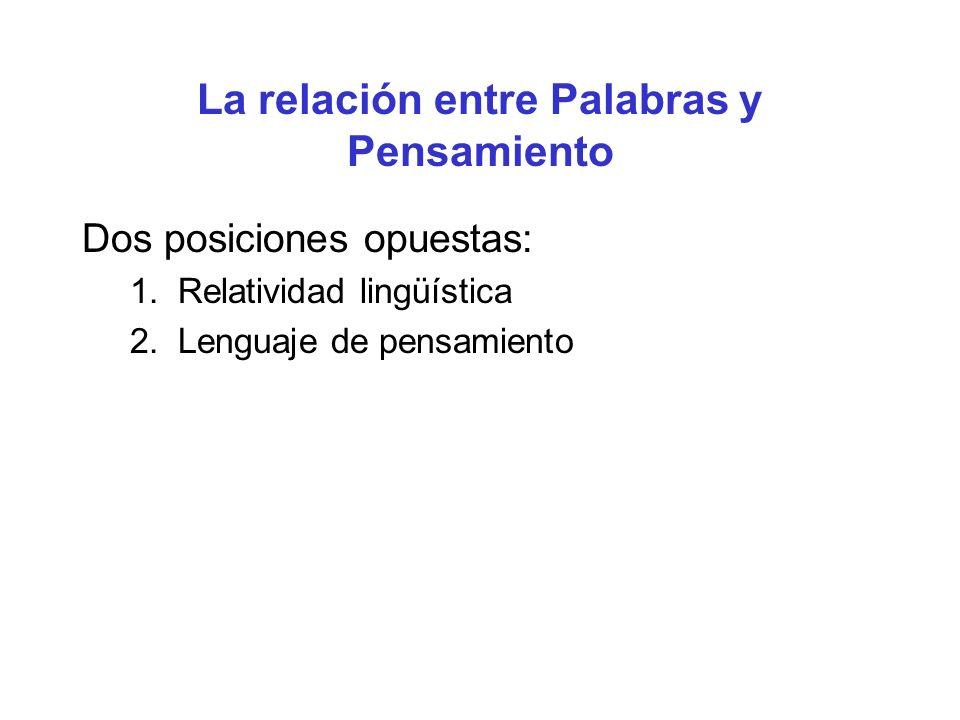 La relación entre Palabras y Pensamiento Dos posiciones opuestas: 1. Relatividad lingüística 2. Lenguaje de pensamiento