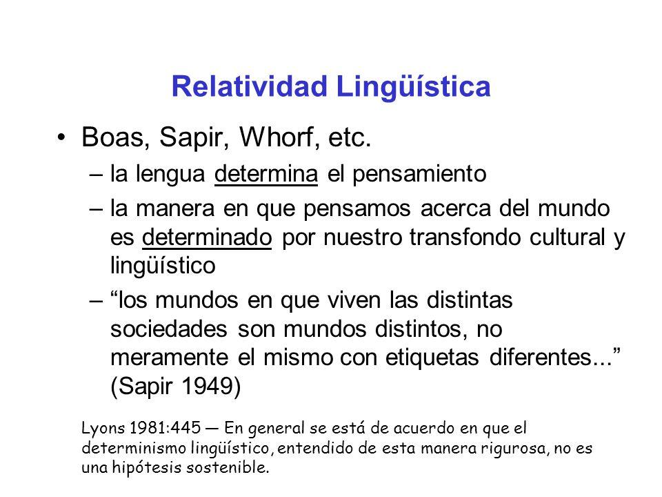 Relatividad Lingüística Boas, Sapir, Whorf, etc. –la lengua determina el pensamiento –la manera en que pensamos acerca del mundo es determinado por nu