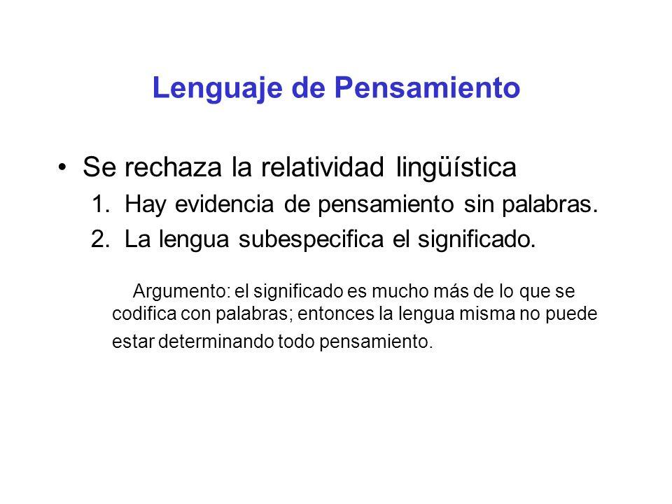 Lenguaje de Pensamiento Se rechaza la relatividad lingüística 1. Hay evidencia de pensamiento sin palabras. 2. La lengua subespecifica el significado.