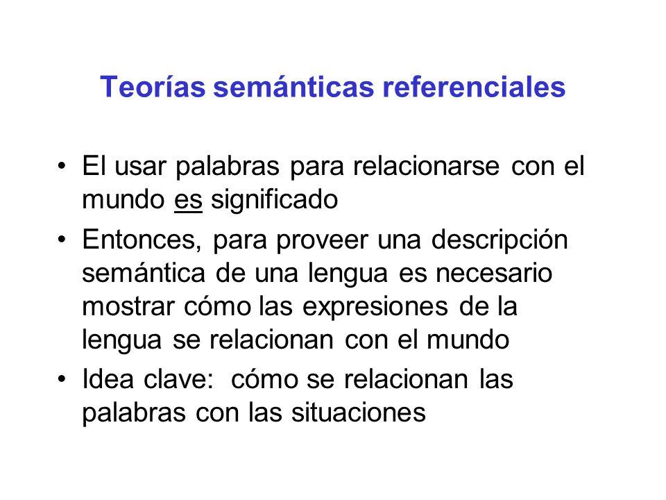 Teorías semánticas referenciales El usar palabras para relacionarse con el mundo es significado Entonces, para proveer una descripción semántica de un